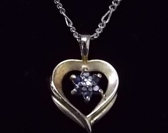 Vintage Estate Gold Tone Sterling Estate Necklace W/ Heart Pendant 2.88g #E1041