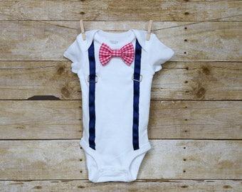 Navy Suspender Baby Bodysuit with Interchangeable Bowties, Interchangeable Bowtie Onesie