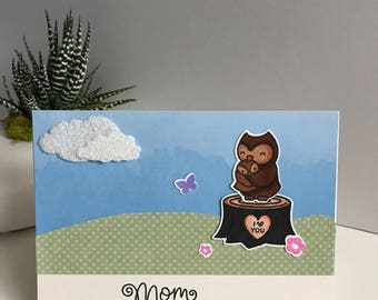 Mother's Day Card, Mom and Baby Owl Card, Owl Mother's Day Card, Happy Mother's Day