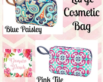 LARGE COSMETIC BAG- Personalization, Monogrammed Cosmetic Bag- Large Accessory Bag, Bridesmaid Gift, Make-up bag, Cosmetic Bag, Large Bag