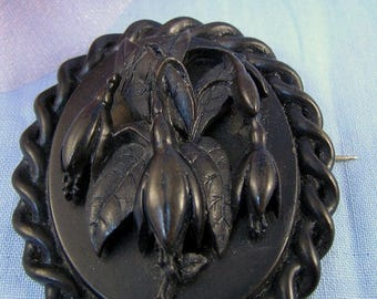 SaLe! Large, Oval, Gutta Percha Pin, Victorian Mourning BROOCH: Bluebell Flowers, 3D Raised Design, Twisted Rope Border, 1860s-1890s