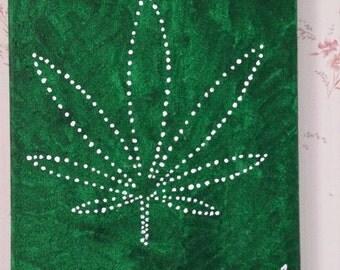 Marijauna Cannabis  Leaf Acrylic Painting