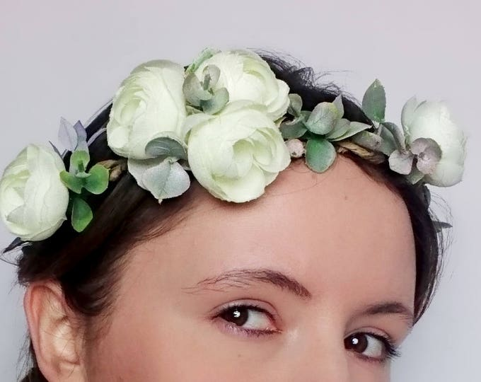 Rustic floral wedding CROWN ivory flower eucalyptus woodland satin ribbon Bridal Hairpiece romantic original first communion wreath
