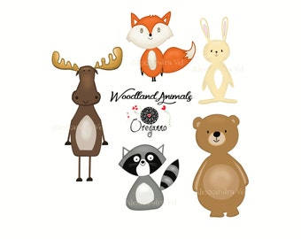 Nursery wall art animals-Kawaii Woodland Animals Clipart Hand Drawn Clipart Set Instant Download Commercial Use Children-digital clipart
