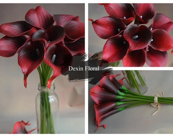 Dark Red Calla Lilies Real Touch Flowers For Silk Wedding Bouquets Wedding Decorations 9stems