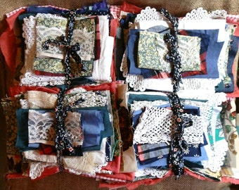Vintage Material Pieces / Scraps - Mixed Fabrics Approx. 210g / 8oz Each Lot: Cotton, Lace, Crochet, Jersey