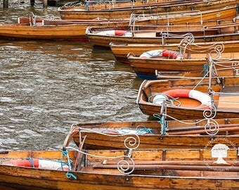 fine art photography, nautical decor, england photography, wanderlust gifts, life preserver, boat print 5 x 7, wooden row boats, cottage art