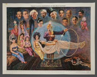"""1979 Poster """"Salla's Magical Masterpiece of the Great Masters"""" Genuine Magic Show Poster Illusionist 18.25 x 23.5"""