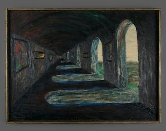 Mid Century Serra Stewart Oil Painting Impressionist Arcade Passage Arches Architecture Art Signed Vintage