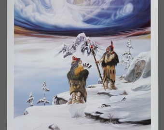 "1991 Robert Redbird ""The Caretakers"" Native American Print Limited Edition 548/1000 Signed 32 x 23 Vintage Signed"