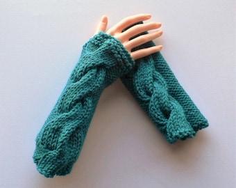 Fingerless Gloves, Steampunk Gloves, Goth Gloves, Wrist  Warmers, Hand Warmers, Teal Gloves, Knit Gloves, Steampunk Clothing, Boho Gloves