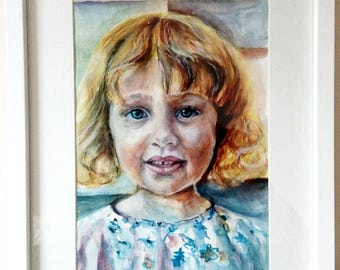Custom made portrait. Painting. Family portraits. Water colour portrait. A4 portrait. Portrait from photo