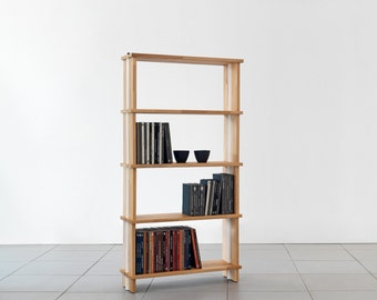 "Bookshelves NIKKA WOODY  Modular wooden bookcase Totally SOLID Wood Shelves.  Wood Sidepanels cm. 90 x 176 h x 30 - (35,4"" x 69,3"" x 12"")"