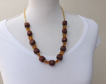Wood and glass necklace, wooden necklace, yellow and brown necklace, autumn jewellery