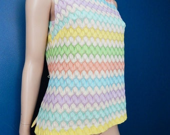 Vintage Sleeveless Pastel Top | Mad Men | Zig Zag Pattern | Size Medium/Large