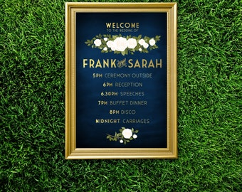 The FRANKIE . Program Wedding Ceremony Sign Timeline . PRINTED or PDF. Gold & Navy Chalkboard White Blush Pink Rose . Reception Signage