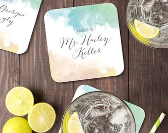 The HAYLEY . Name Card Drink Coasters with Wedding Guests & Tables . Watercolor Calligraphy Blush Gold Teal Mint Beach Island Destination