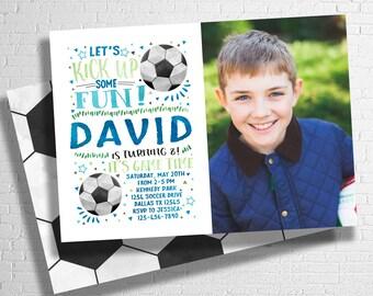 Soccer Birthday Invitation | Football Birthday Invitation | Let's Kick it | Kick Up Some Fun | Sports Birthday Invite | DIGITAL FILE ONLY