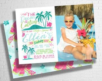 Hawaiian Luau Birthday Invitation | Luau Birthday Invitation | Hawaiian Invite | Hawaiian Birthday | Tropical Birthday |   DIGITAL FILE ONLY