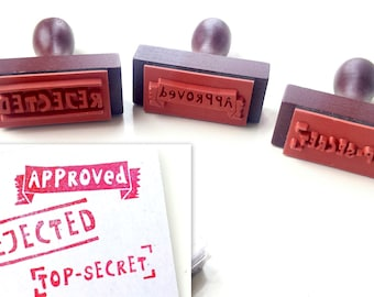 Set of 3 wood rubber stamps with a handle - approved, rejected & top-secret - including red ink pad