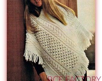 Knitting Pattern Aran Cape : Aran poncho Etsy IE