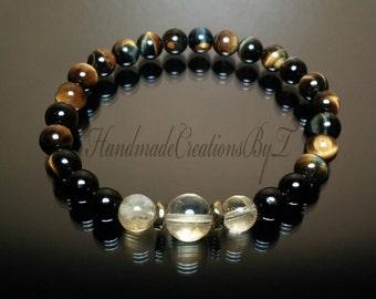 Citrine, Black Tourmaline & Tiger Eye Bracelet - Healing Chakra Bracelet, Stretch Bracelet Jewelry for Men Women Mediation Yoga Mala Chi