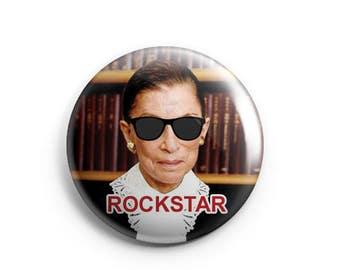 "Ruth Bader Ginsburg: Rockstar!  1.25"" Pinback Button"