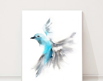 Art Print of Flying blue tanager, watercolor painting print, bird print, art print, wall decor, bird print