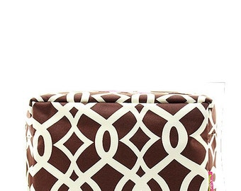 Personalized Monogrammed Cosmetic Case Make Up Bag Toiletry Bag Vine Print Brown and White