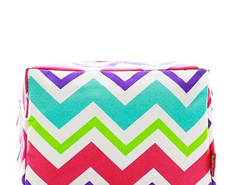 Personalized Monogrammed Cosmetic Case Make Up Bag Toiletry Bag Multi Color Chevron Print
