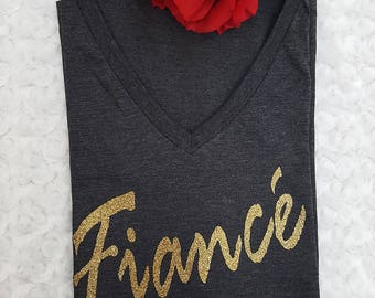 fiance shirt, engaged shirt, engaged gift, engaged proposal, engagement party, engagement shirt, bride to be, glitter fiance, gift for her