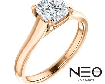 SALE !! 1.10 Carat Cushion Moissanite Solitaire Ring in 14K Rose Gold (NEO Moissanite)