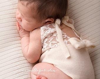 Newborn photo prop, photo session props, Newborn lace romper, Baby lace props, Newborn knit romper, Dainty Romper, Photo romper, Neutral