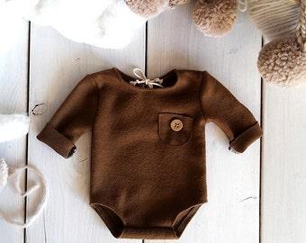 Newborn photo prop, photo session props, Newborn brown romper, Baby boy props, Newborn knit romper, Winter Romper props, Photo romper