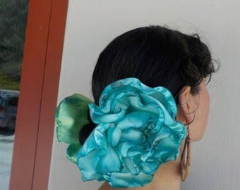 Light Turquoise Ombre GIANT flower-flamenco Hair clip-pin- Varigated Rose-Belly dance-Tango Flower - day of the dead- Freeda - cart driving