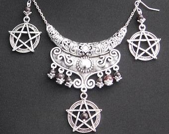 Pagan Wicca Garnet Pentagram Priestess Necklace Earrings Set - Sanguine Rose Designs