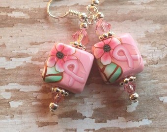 Pink Ribbon Earrrings, Polymer Clay Earrings, Pink Ribbon, Breast Cancer Awareness