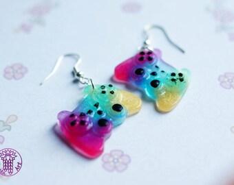 Rainbow Gamepad Earrings - Nickel free
