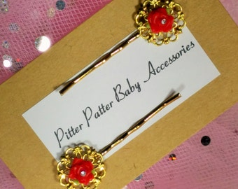 Red Rose Bobby Pins, Gold Tone Victorian Style Girls Hair Pins, Christening Or Wedding Hair Accessories, Rose Bobby Pins, Girls Bobby Pins,