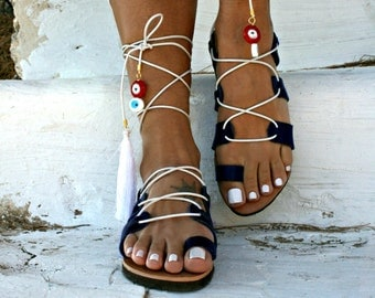 Lucky eye -Lace Up Sandal -Ios -Navy color -