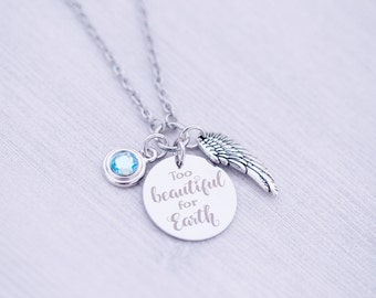 Memorial Angel Wing Necklace with Swarovski Charm - Memorial Jewelry - Engraved Jewelry - Mommy of an Angel - Too Beautiful for Earth