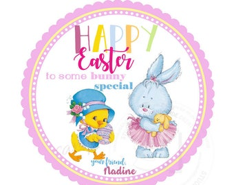 """Custom Easter Egg & Bunny Printable 2.5"""" Tags-Happy Easter Holidays D.I.Y Tags- Personalized Stickers (You Print) 2.5"""" tags-Digital file"""