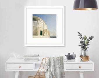 Griffith Park Observatory, Los Angeles Print, Hollywood, California Photography, LA Wall Art, Skyline, Fine Art, Home Decor, Square