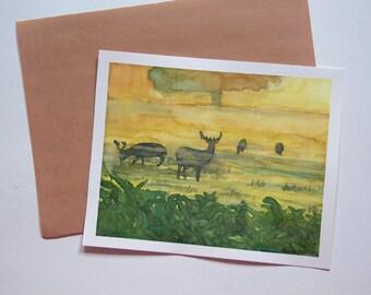 Deer Nature Wildlife Watercolor Art-original painting-morning fog-yellow orange green artwork-deer silhouette-forest bush-modern wall art