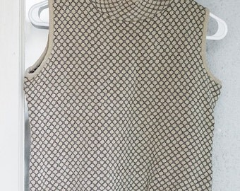 Retro 80s Norton McNaughton Knitted Beige Posh Patterned High Collar Sleeveless Crop Top Size Sm