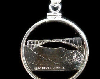 West Virginia Quarter Cut Coin, Necklace, Pendant, Bridge, River,