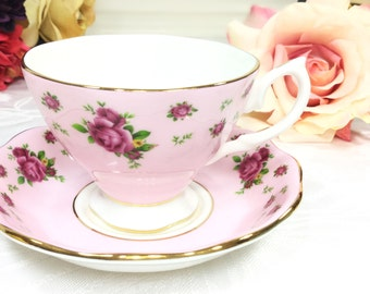 Royal Albert  New Country Roses Pink Floral Chintz Tea Cup & Saucer Teaset 4Tea Party, Shower, Wedding, Party Favor, Grace's Teaware #984