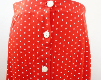 Long skirt Skirt dress red white polka Dots Rockabilly Style 50s Look S 8 10 36 38