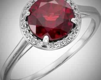 14K White Gold 2 Carat Mozambique Garnet & .05CTW Diamond Halo Birthstone Ring