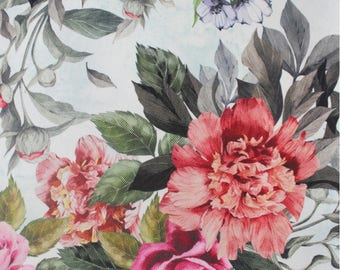 Floral Upholstery Fabric, Furnishing Fabric Big Flowers, Vintage Style Durable Fabric, Non-fade Drapery Fabric, by the Yard/Metre, DB-301-V1